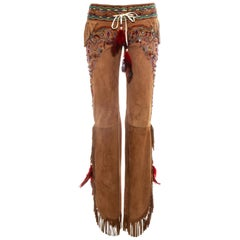 Dolce & Gabbana tan leather fringed embellished pants, ss 2001