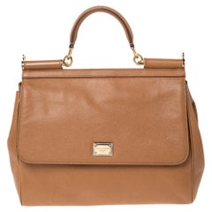 Dolce & Gabbana Tan Leather Large Miss Sicily Top Handle Bag