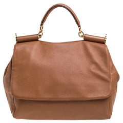 Dolce & Gabbana Tan Leather Soft Miss Sicily Top Handle Bag