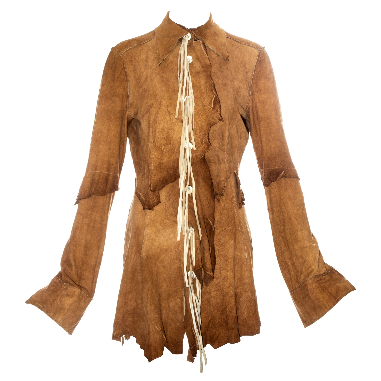 Dolce & Gabbana tan suede patchwork mini shirt dress, ss 2001