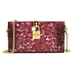 Dolce & Gabbana Taormina Plexiglass and Lace Box Clutch Current Season one size