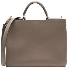 Dolce & Gabbana Taupe-Grey Pebble Leather Tote One size