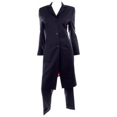 Dolce & Gabbana Tonal Pinstripe Cropped Trouser Suit W Long Jacket W Red Lining