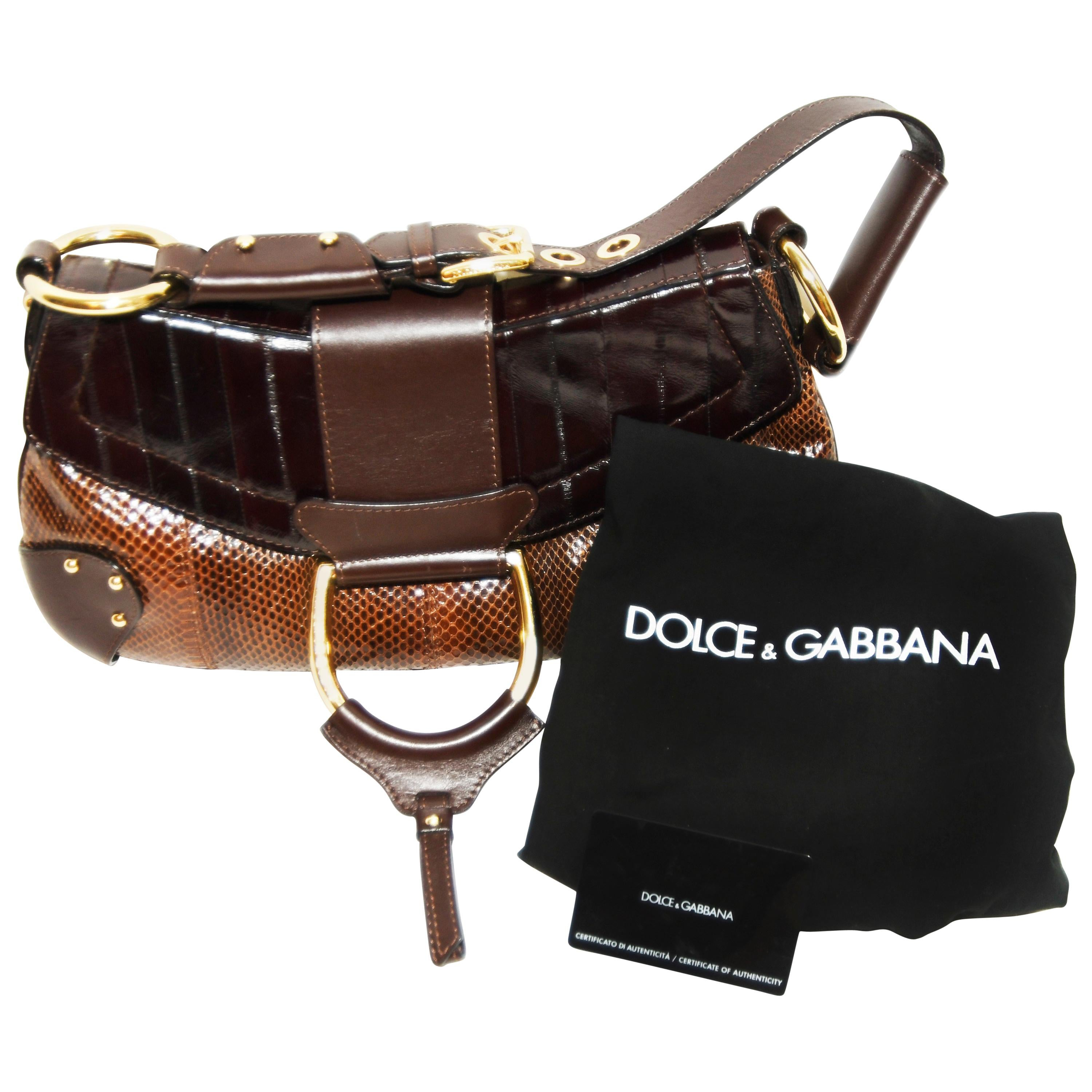 d86ef5f717 Dolce and Gabbana Top Handle Reptile and Leather Brown Bag For Sale at  1stdibs