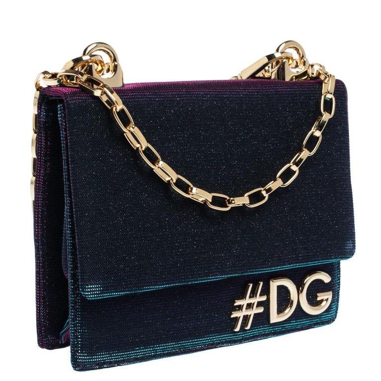 Dolce & Gabbana Tri Color Sparkle Fabric DG Girls Hashtag Logo Bag In Excellent Condition In Dubai, Al Qouz 2