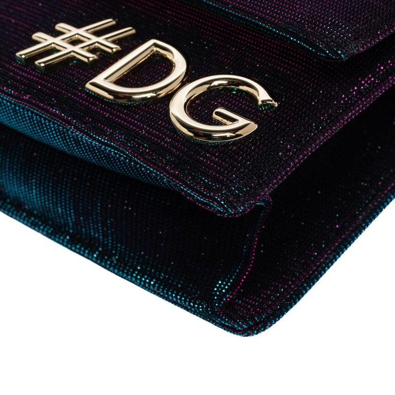 Dolce & Gabbana Tri Color Sparkle Fabric DG Girls Hashtag Logo Bag 4