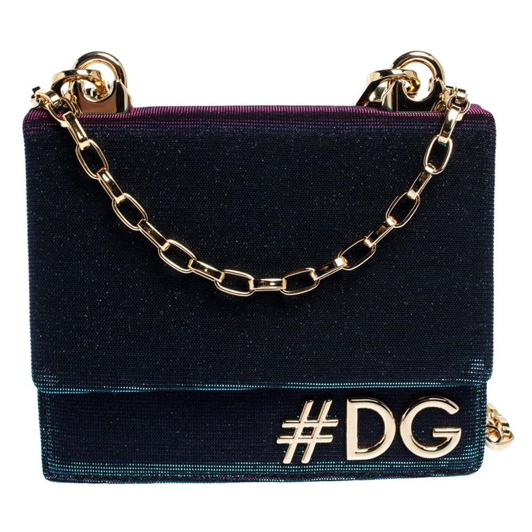Dolce & Gabbana Tri Color Sparkle Fabric DG Girls Hashtag Logo Bag