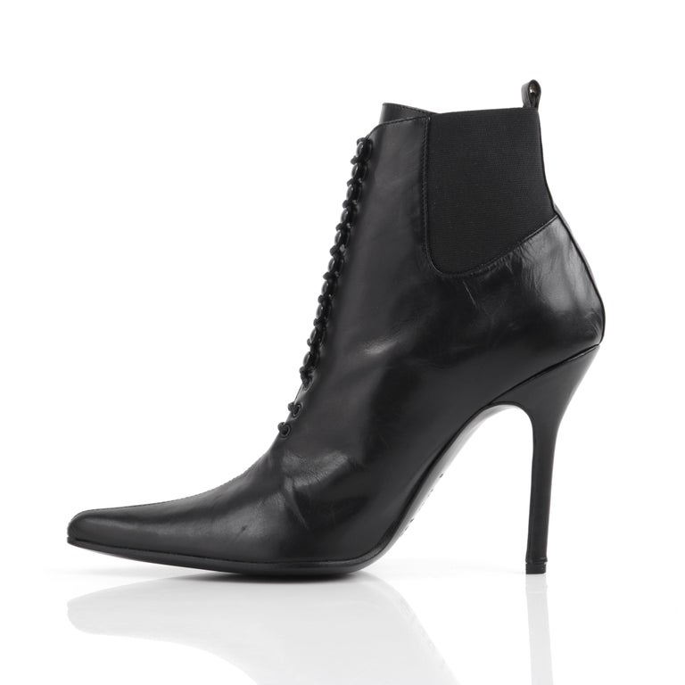"Women's DOLCE & GABBANA ""Tronchetto"" Black Leather Lace Up Pointed Toe Booties Heels  For Sale"