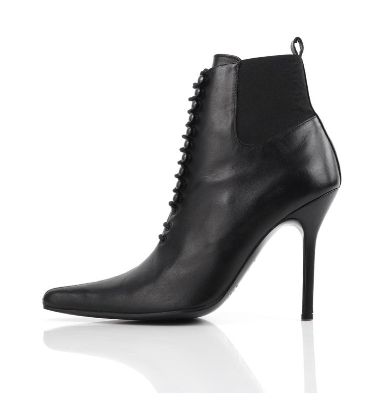 "DOLCE & GABBANA ""Tronchetto"" Black Leather Lace Up Pointed Toe Booties Heels  For Sale 1"