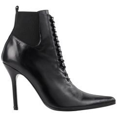 "DOLCE & GABBANA ""Tronchetto"" Black Leather Lace Up Pointed Toe Booties Heels"