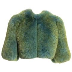 Dolce & Gabbana turquoise fox fur cropped jacket, fw 1999