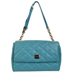Dolce & Gabbana Turquoise Quilted Leather Miss Kate Shoulder Bag