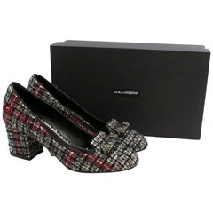 Dolce & Gabbana Tweed Crystal Embellished Pumps IT 38.5