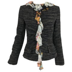 Dolce & Gabbana Tweed Jacket with Floral Silk Lining
