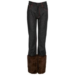 Dolce & Gabbana unisex black denim jeans with brown fur, fw 1999