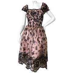 Dolce & Gabbana Velvet Lace Overlay Fifties Style Dress