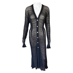 Dolce & Gabbana Vintage 1990's Sheer Open Knit Crochet Fishnet Black Maxi Dress