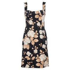 Dolce & Gabbana Vintage Black Floral Printed Jacquard Sheath Dress M