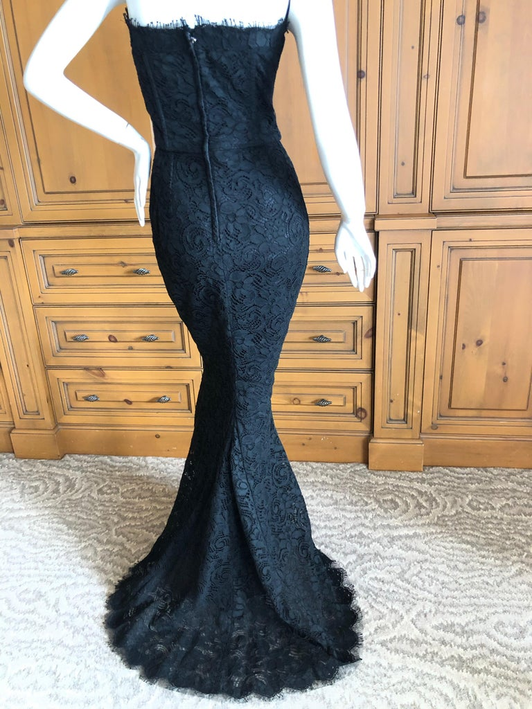 Dolce & Gabbana Vintage Black Lace Corseted Strapless Evening Gown  For Sale 6