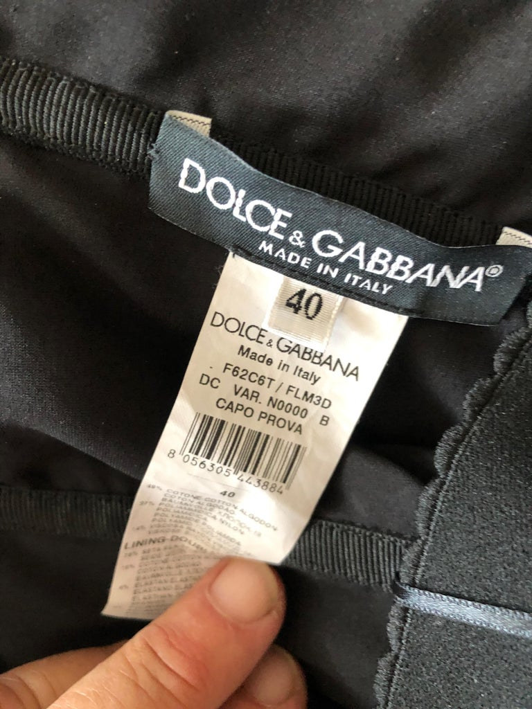 Dolce & Gabbana Vintage Black Lace Corseted Strapless Evening Gown  For Sale 7