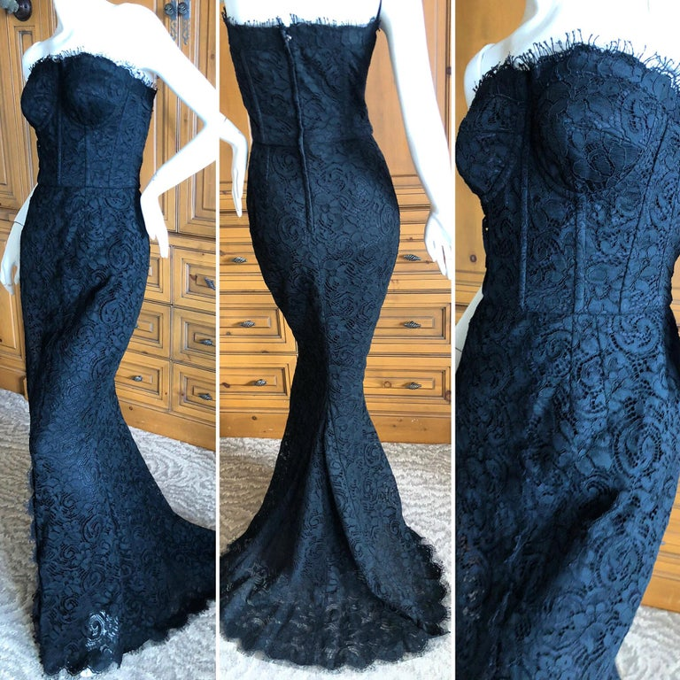 Dolce & Gabbana Vintage Black Lace Corseted Strapless Evening Gown  In Excellent Condition For Sale In San Francisco, CA