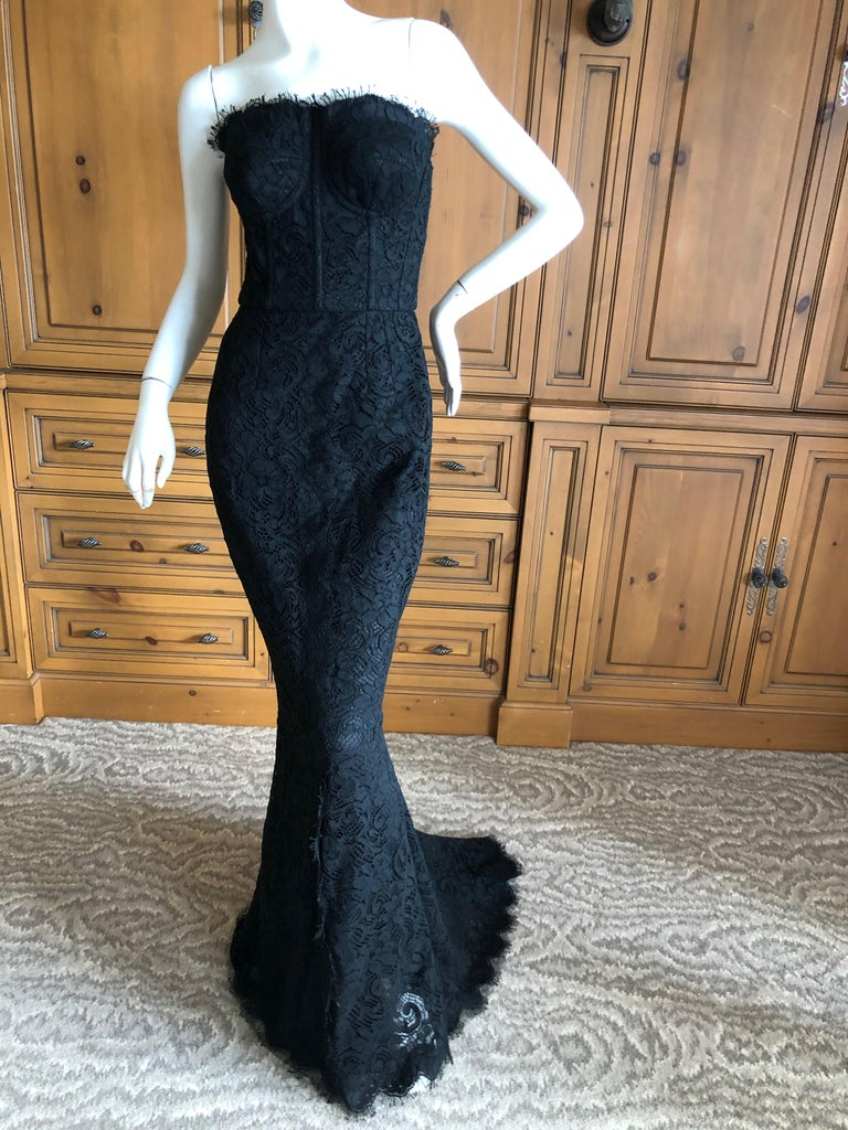 Women's Dolce & Gabbana Vintage Black Lace Corseted Strapless Evening Gown  For Sale