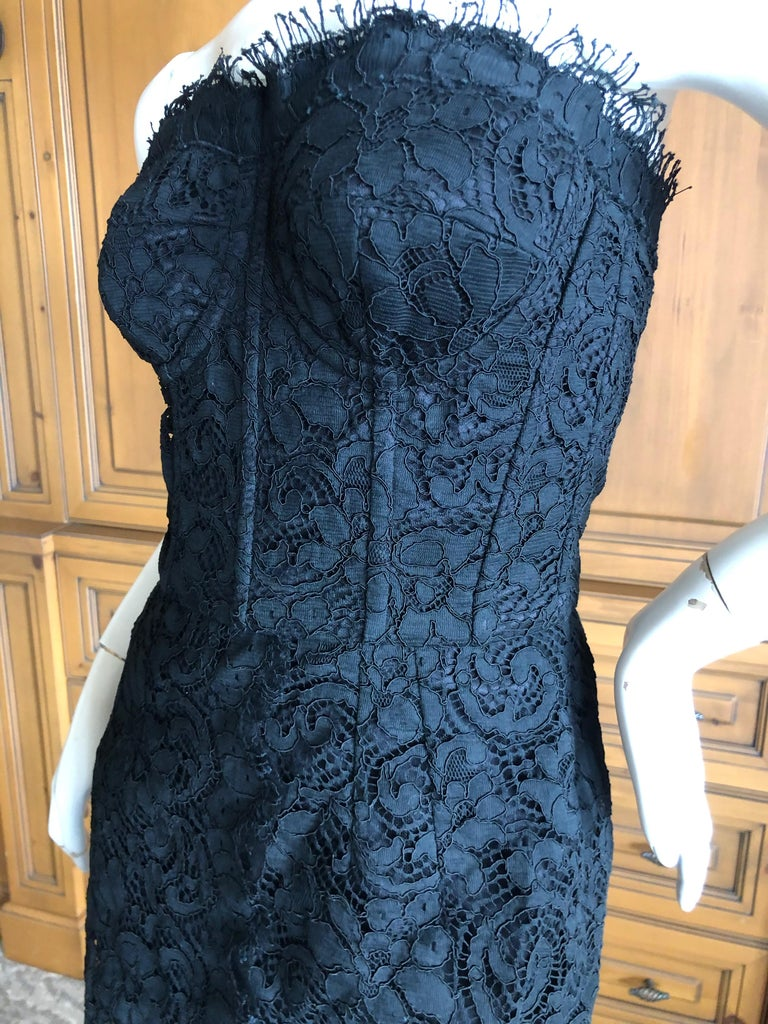 Dolce & Gabbana Vintage Black Lace Corseted Strapless Evening Gown  For Sale 2
