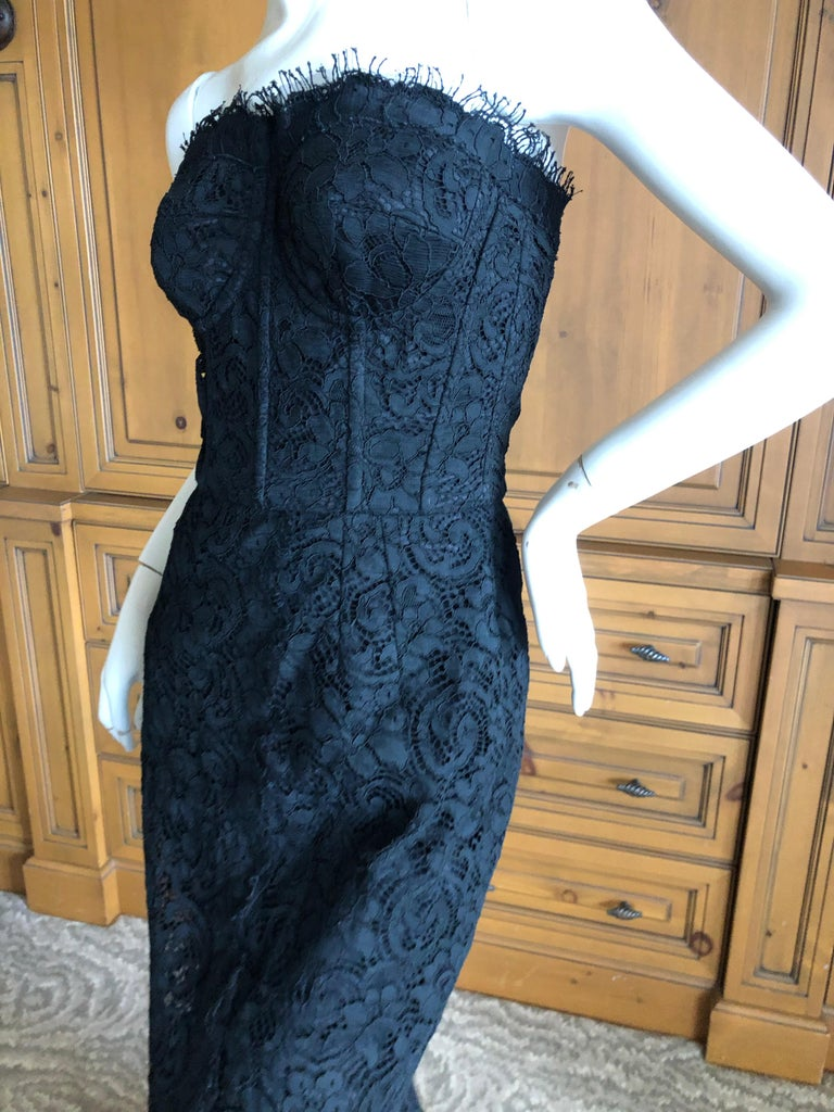 Dolce & Gabbana Vintage Black Lace Corseted Strapless Evening Gown  For Sale 3