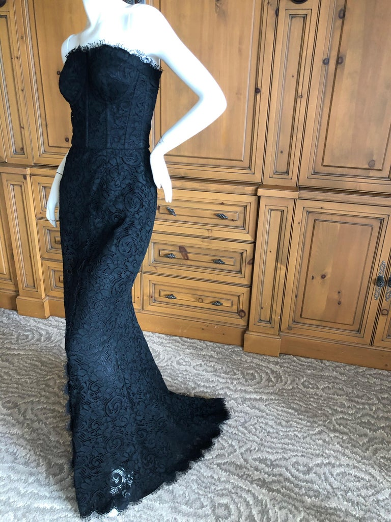 Dolce & Gabbana Vintage Black Lace Corseted Strapless Evening Gown  For Sale 4