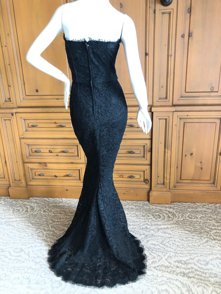 Dolce & Gabbana Vintage Black Lace Corseted Strapless Evening Gown  For Sale 5