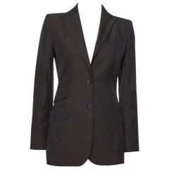 Dolce & Gabbana Vintage Dark Brown Cotton Tailored Jacket S