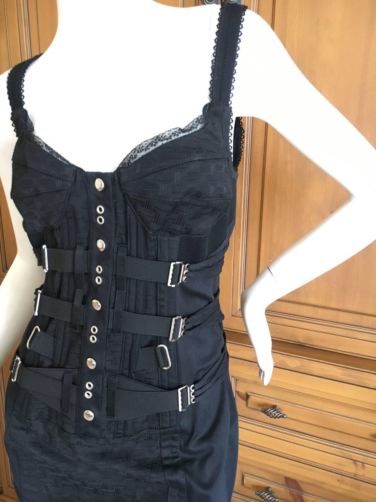 Dolce & Gabbana Vintage D&G Lace Trim Bondage Strap Little Black Dress. So pretty, so sexy. There is a lot of stretch in this. Size 40 Bust 32