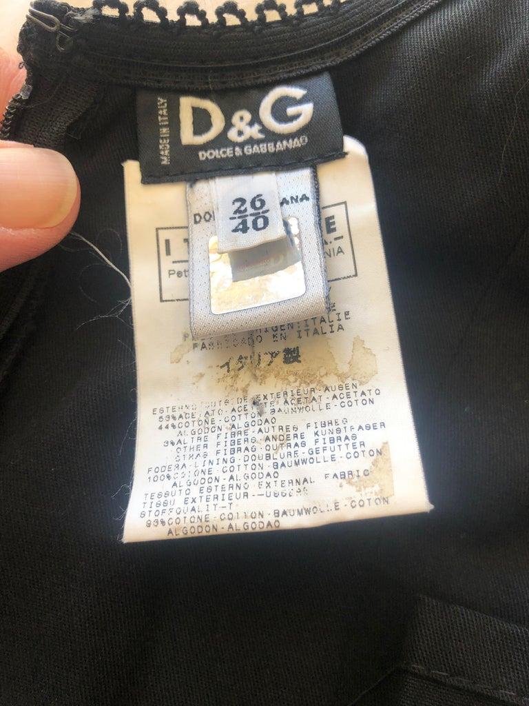 Dolce & Gabbana Vintage D&G Lace Trim Bondage Strap Little Black Dress For Sale 4