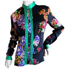 Dolce & Gabbana Vintage D&G Silk Floral Blouse with Large Crystal Buttons