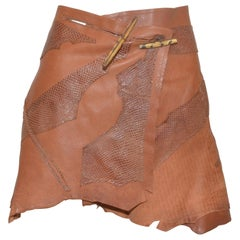 Dolce & Gabbana Vintage Leather Skirt with Jagged Hem