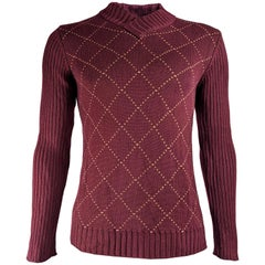 Dolce & Gabbana Vintage Mens Wine Red Sweater, 1990s