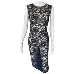 Dolce & Gabbana Vintage Sheer Floral Lace Black Dress