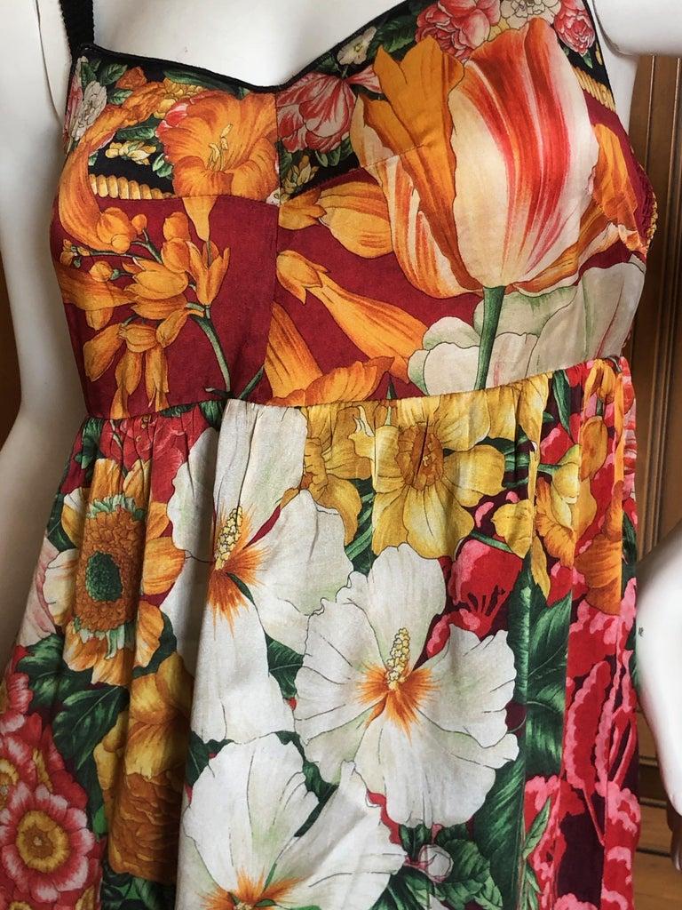 Beige Dolce & Gabbana Vintage Silk Floral Babydoll Dress