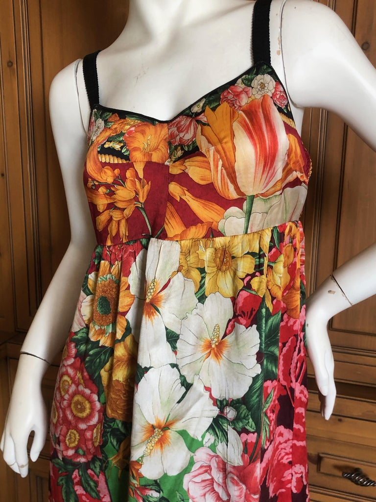 Dolce & Gabbana Vintage Silk Floral Babydoll Dress  In Excellent Condition In Cloverdale, CA