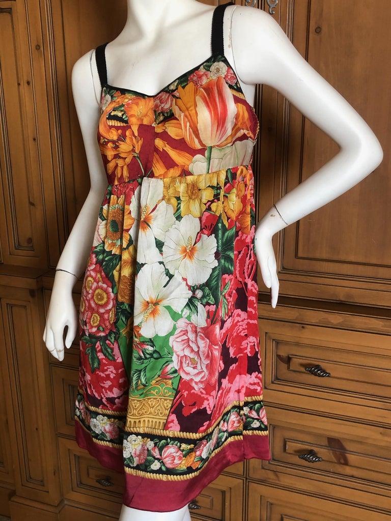 Women's Dolce & Gabbana Vintage Silk Floral Babydoll Dress