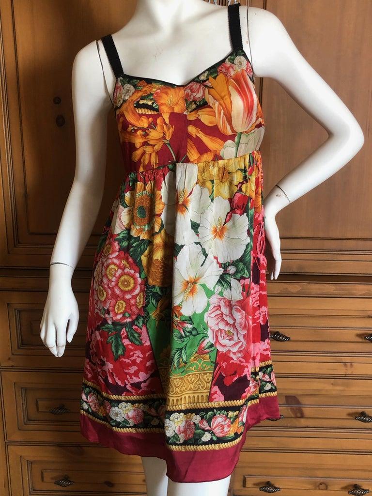 Dolce & Gabbana Vintage Silk Floral Babydoll Dress  2