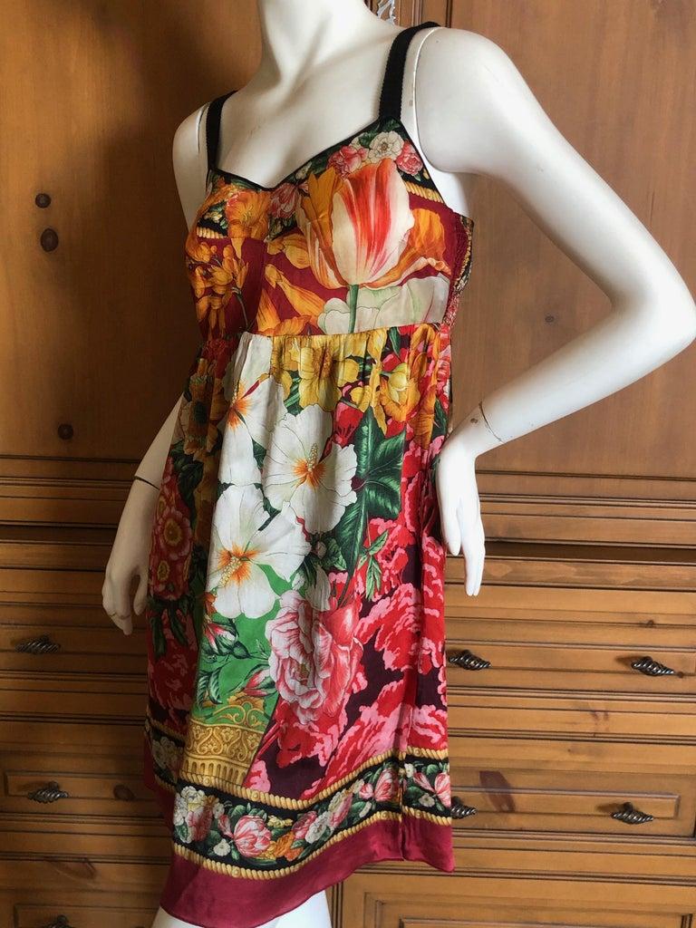 Dolce & Gabbana Vintage Silk Floral Babydoll Dress  3