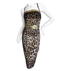 Dolce & Gabbana Vintage Silk Leopard Print Silk Cocktail Dress Gold Leather Trim