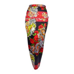 Dolce & Gabbana Vintage Skirt Exotic Asian Print Dragons Fans Roses 40 / 6