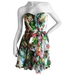 Dolce & Gabbana Vintage Strapless Floral Cocktail Dress w Full Corset and Sash