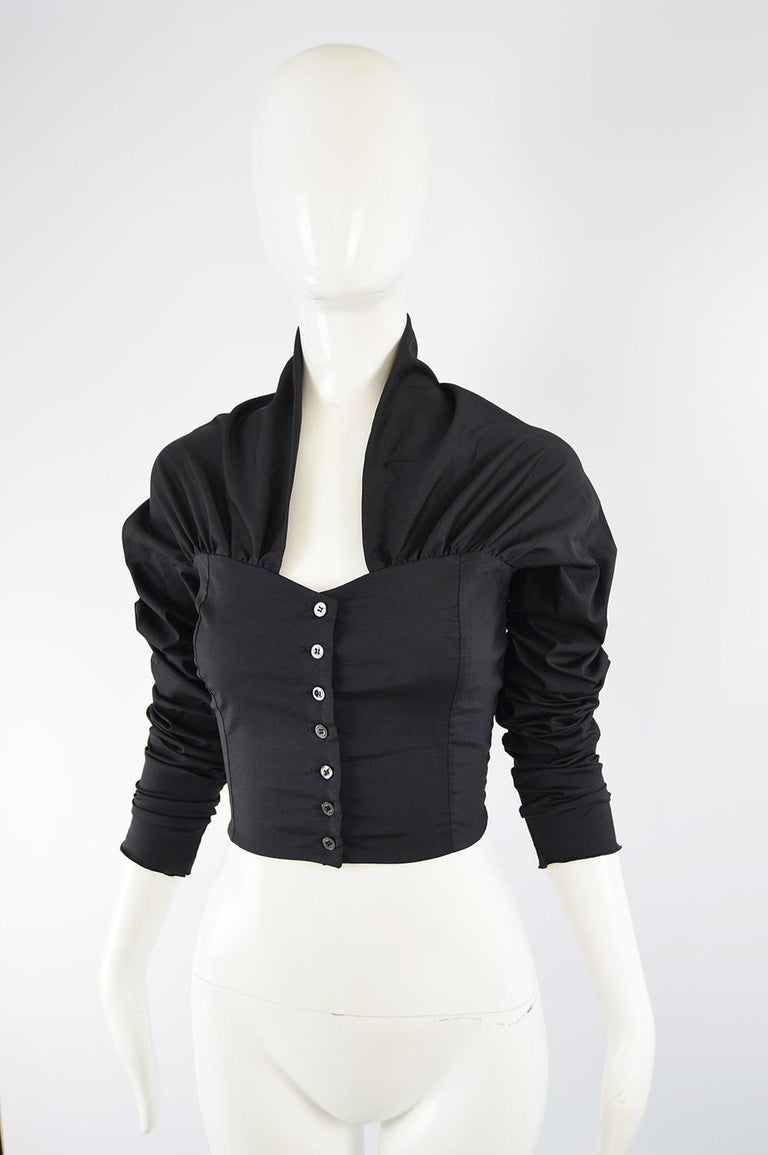 Dolce & Gabbana Vintage Ultra Long Sleeves Black Silk Bodice Top, 1990s In Good Condition For Sale In Doncaster, South Yorkshire