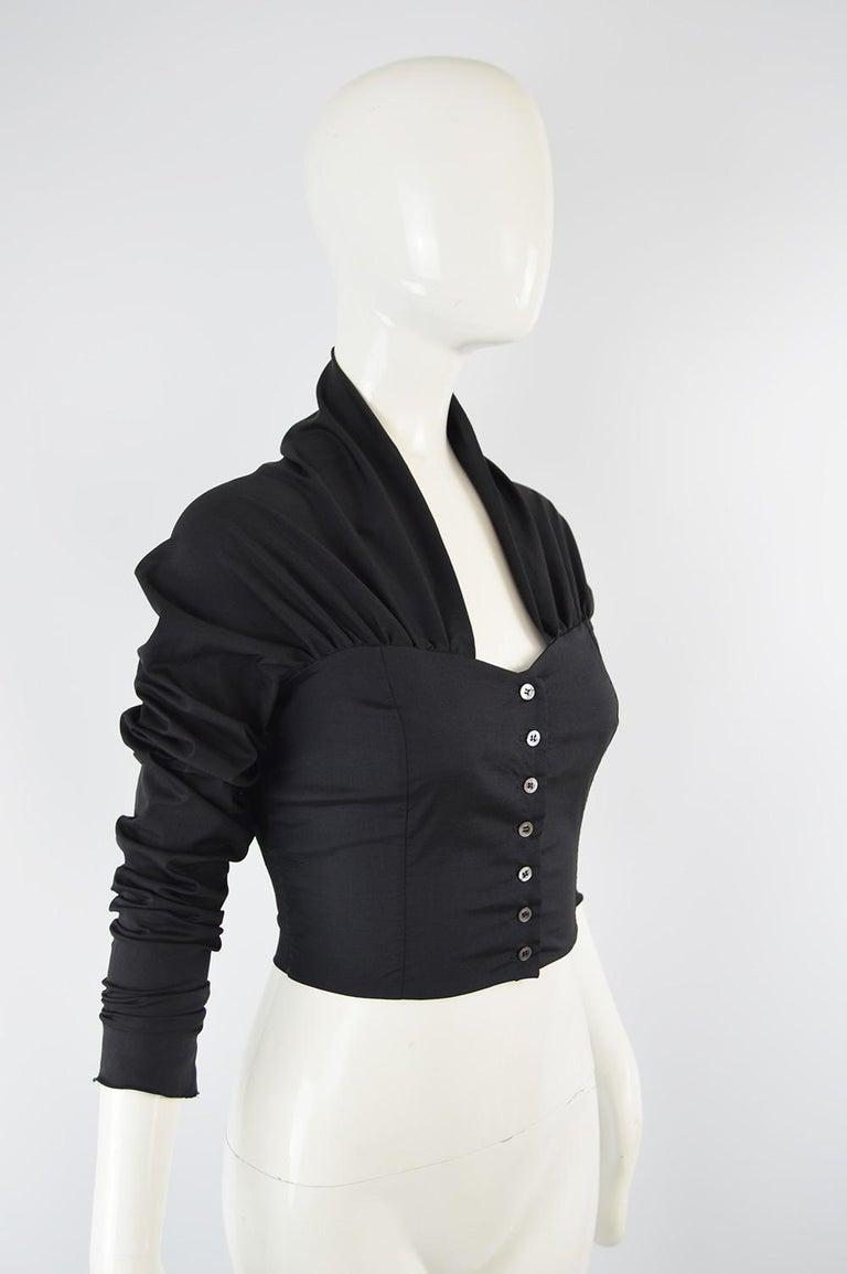 Women's Dolce & Gabbana Vintage Ultra Long Sleeves Black Silk Bodice Top, 1990s For Sale