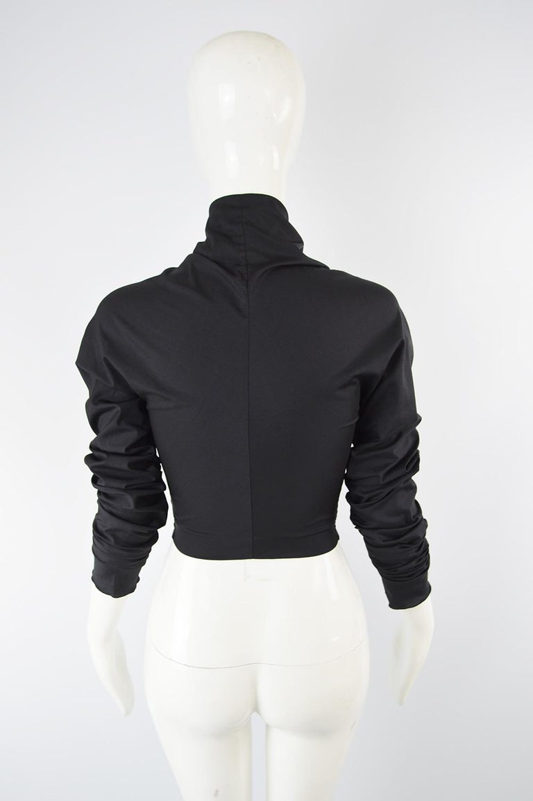 Dolce & Gabbana Vintage Ultra Long Sleeves Black Silk Bodice Top, 1990s For Sale 1