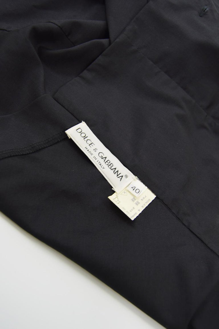 Dolce & Gabbana Vintage Ultra Long Sleeves Black Silk Bodice Top, 1990s For Sale 2