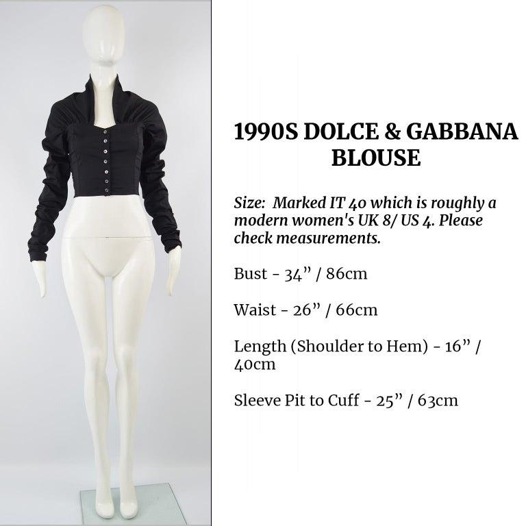 Dolce & Gabbana Vintage Ultra Long Sleeves Black Silk Bodice Top, 1990s For Sale 3